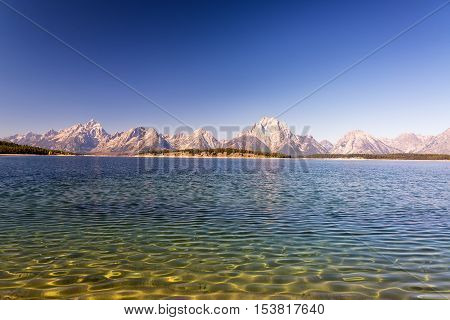 Lake Texture And Teton Range