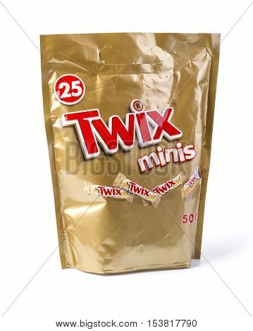 Chisinau Moldova September 27 2016:Twix cookie bars isolated on white background. Twix bars are produced by Mars Incorporated and sold worldwide.