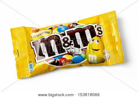 Chisinau Moldova - November 12 2015: Packet of Peanut M&M's milk chocolate made by Mars Inc. isolated on white background