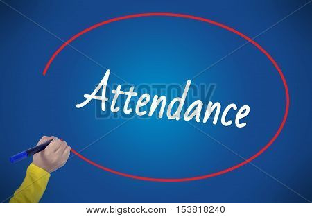Woman hand writing attendance with marker on blue background professionally