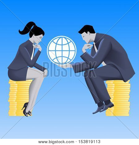 Global growth strategy business concept. Pensive businessman in business suit with globe in his hands sits on stack of coins and talks with business lady. Partnership fair play strategy discussion.