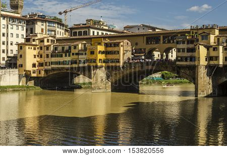 view of the Ponte Vecchio in Florence city poster