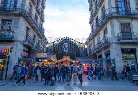 Boqueria Market entrance in Ramblas street Barcelona Spain