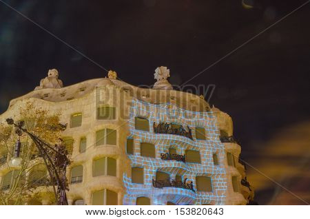 Barcelona, Spain - Feb 12, 2016: Casa Mila In Barcelona, Spain. This Famous Building Was Designed By