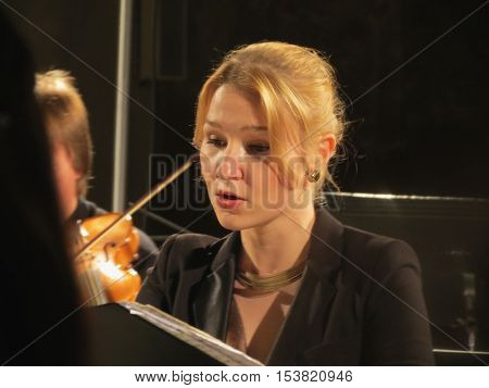 BRNO CZECH REPUBLIC - CIRCA APRIL 2012: Soprano Alena Macova performs accompanied by the Hof-Musici ensemble