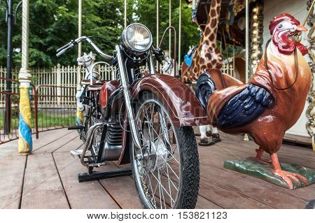 Merry-go-round Figure Closeup Motorcycle