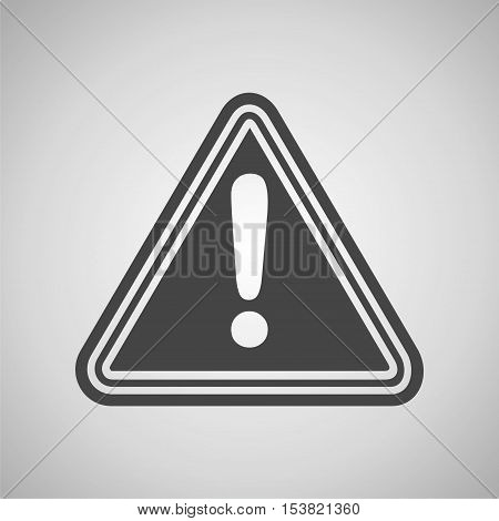 Hazard warning attention sign on gray background