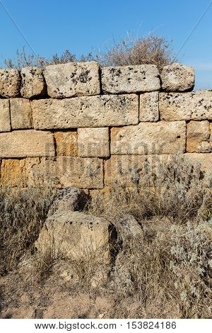 Walls of the ancient Sicilian town of Selinunte one of the most striking archaeological sites in Sicily.