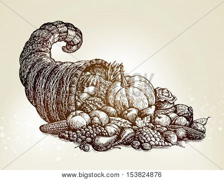 Thanksgiving day symbol. Vintage cornucopia sketch vector illustration