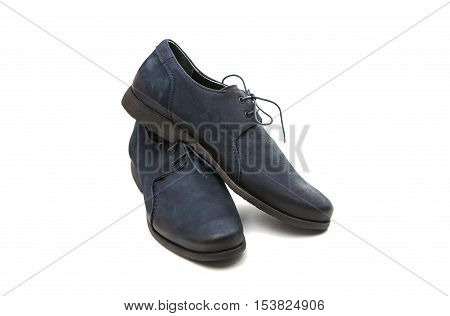 blue leather men's shoes on a white background