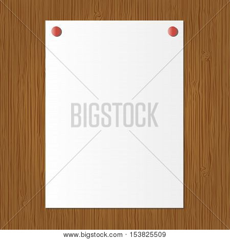 Wood texture with paper vector. Vector illustration