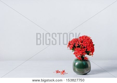 Red Ixora Flower In Blue Ceramic Vase