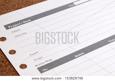 Close Up Blank Form Project / Goals. Blank Form Of Project Planning And Goals On Table. Business Pro