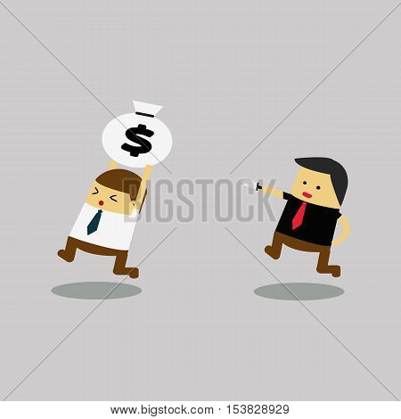 thief stealing money bag,Businessman run thief use magnet stealing idea vector illustration