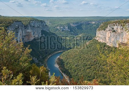 The Gorges de Ardeche is made up of a series of gorges in the river Ardeche forming a thirty-kilometre long canyon.