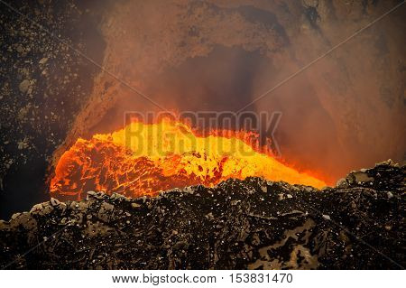 lava and ash during continued eruption from volcano masaya