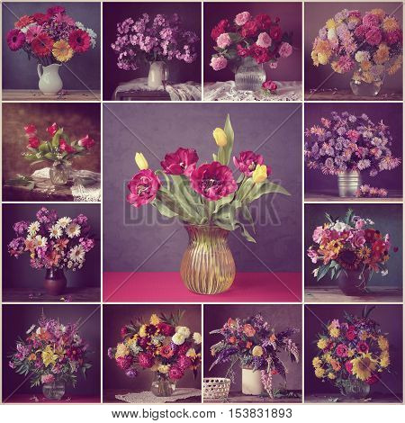 Collage from still lifes with bouquets. Flower background. Rose peony sunflower lupine phlox chrysanthemum Transvaal daisy tulip camomile lilac lily of the valley. Vintage filter.