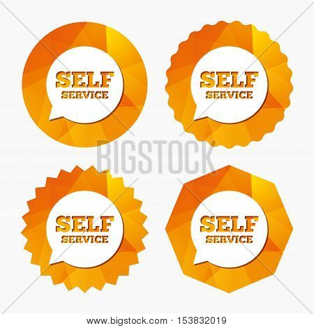 Self service sign icon. Maintenance symbol in speech bubble. Triangular low poly buttons with flat icon. Vector