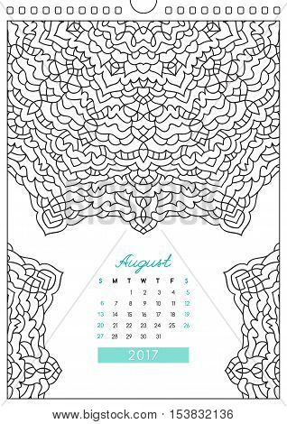 wall calendar 2017 with ornament for coloring, anti stress coloring book, august