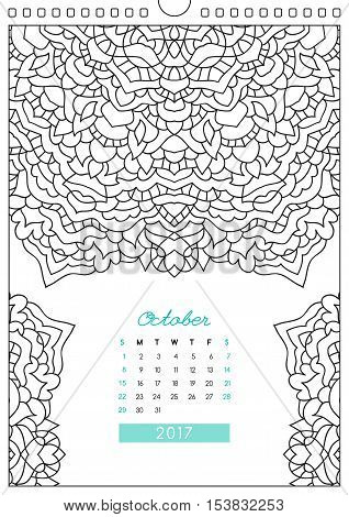 wall calendar 2017 with ornament for coloring, anti stress coloring book, october