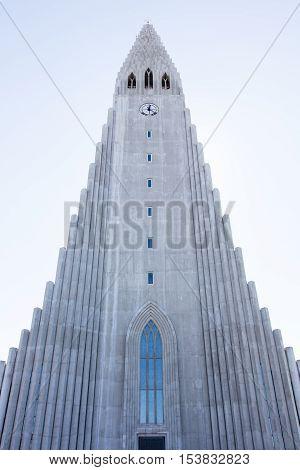 Famous Hallgrimskirkja cathedral in Reykjavik Iceland, summer