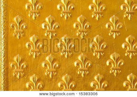 Ornated Door With Decorative Golden Flower Pattern