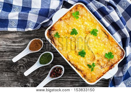 Moussaka Baked In Oven In Gratin Dish