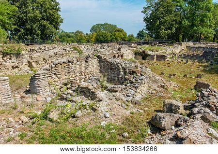 Ruins of The Great Baths at the Archaeological Park of Dion. Pieria Macedonia Greece