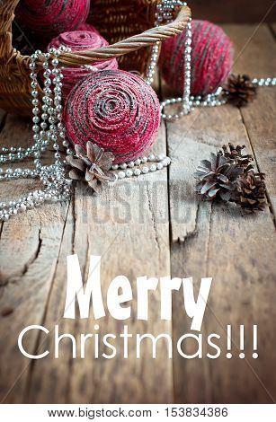 Magic Christmas Card With Pink Natural Balls, Pine Cones And Bea