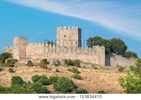 View of the medieval Castle of Platamonas. Pieria Central Macedonia Greece Europe
