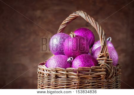 Brilliant Pink Christmas Balls In A Basket