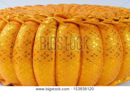 Thai silk Pumkin Pillow on white background