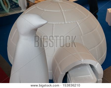 Polystyrene Igloo and Penguin Plastic Polar Reconstruction