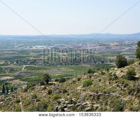 Countryside near to Valencia Spain. Viewed from Monastery of St Michael at Lliria
