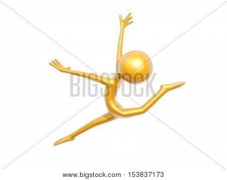 golden guy doing gymnastics jump isolated on white background 3d illustration