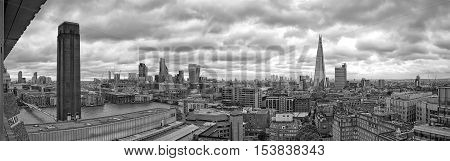 London UK - July 2016: The view of London's skyline from the The Switch House at the Tate Modern. Black and White Photograph