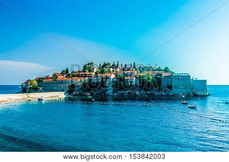 Day view on Sveti Stefan island in Montenegro