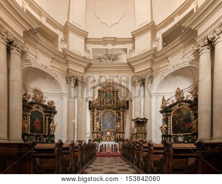 Church of Saint Josef in Lesser Town (Mala Strana) Prague. The view of the altar and theinterior of the church. Built in the end of 17th century in early baroque style in the western part of convent of barefoot Carmelites. The design of the construction r