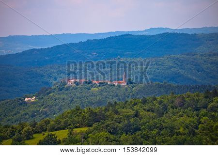 Istrian landscape and hill village Boljun Croatia