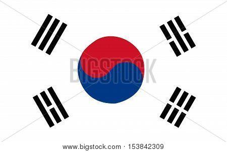 Stock Vector Flag of South Korea - Proper Dimensions