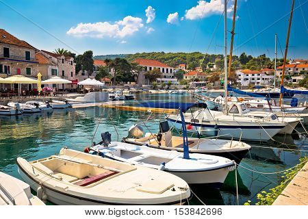 Town of Sumartin seafront view island of Brac Dalmatia Croatia
