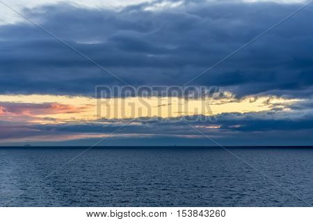 Sunset view on the Baltic sea at the spring time
