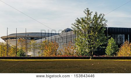 KATOWICE, POLAND - OCTOBER 10, 2016: Sports hall Spodek built in the shape of a flying saucer in the early seventies of 20th century. Arena hosted FIVB Volleyball Men's World Championship in 2014.