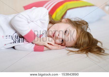 Little Preschooler Girl In Pajamas