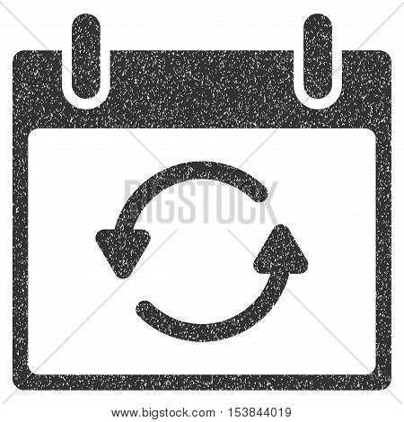Refresh Calendar Day grainy textured icon for overlay watermark stamps. Flat symbol with unclean texture. Dotted vector gray ink rubber seal stamp with grunge design on a white background.