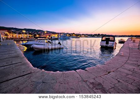 Supetar waterfront and harbor evening view island of Brac Dalmatia Croatia