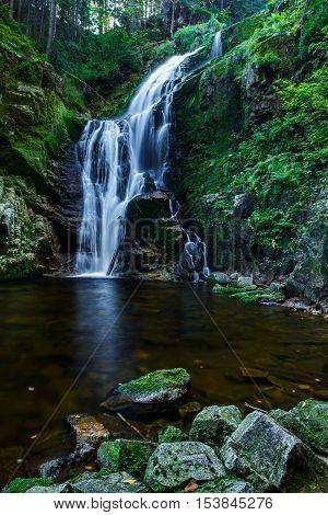 Kamienczyk waterfall the highest waterfall in polish part of Karkonosze Moutain near Szklarska Poreba.