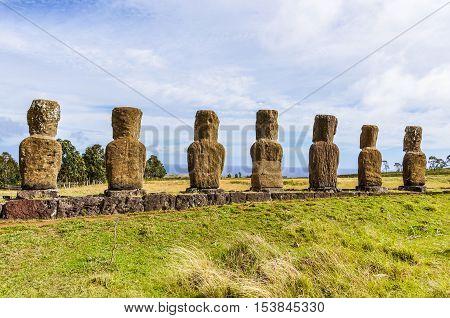Ahu Akivi Site In Easter Island, Chile