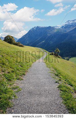 Hillside Hiking Route From Klosters To Monbiel, Switzerland