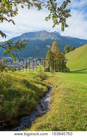 Idyllic Landscape With Little Creek, Near Klosters Village, Switzerland